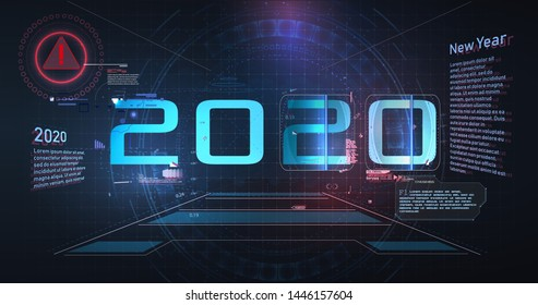 Modern futuristic technology template for 2020. New year 2020 in style HUD,GUI, UX. Futuristic background for your design.Technology background. Digital data visualization. Hi-tech  concept innovation