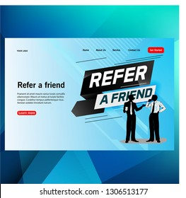 modern futuristic template concept megaphone with Refer a friend word concept people talking vector illustration, can use for, landing page, template, ui, web, mobile app, poster, banner, flyer