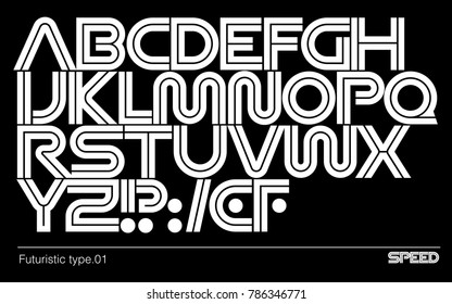 Modern futuristic typeface. Geometric vector font. Sci fi logo and branding template