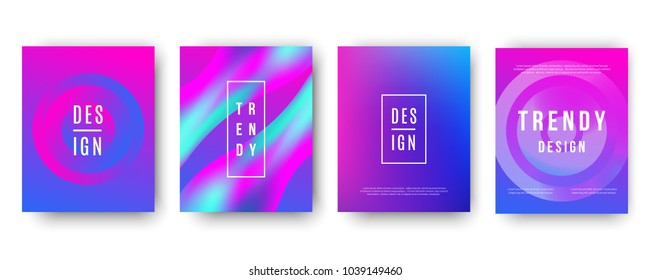 Modern futuristic ultra violet  covers set. Colorful gradient mesh. Dynamic abstract templates, neon light effect backgrounds. Retro 80s techno style.