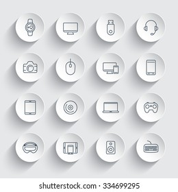 Modern gadgets, line icons on round 3d shapes, vector illustration