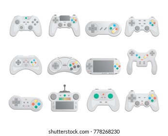Modern gamepad set in cartoon style. Game gadgets collection, control console for video game, wireless joystick or joypad isolated vector illustration. Cybersport digital device set.