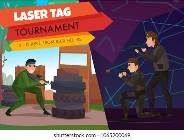 Modern gaming sports poster with laser tag symbols flat vector illustration