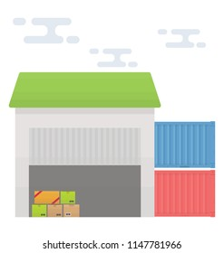 A modern garage like building with some packages inside and containers around, conceptualizing logistics godown icon