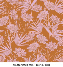 Modern garden flower monotone retro mood seamless pattern ,Design for fashion ,fabric,web,wallpaper,wrapping and all prints on vintage orange color