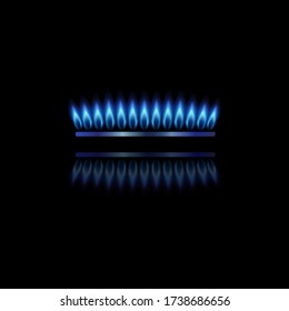 Modern gas burner with blue flame and reflection. Front view gas burner ring. Realistic burner propane butane oven element for web interior design isolated on black background. Vector illustration.