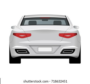 Modern generic car. Rear view of realistic detailed vector car. Middle class sedan isolated on white background.