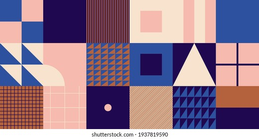 Modern geometric abstract pattern design with simple geometrical shapes and basic colorful forms. Great for use in poster arts, web design, branding presentation, album print, fashion texture and etc.