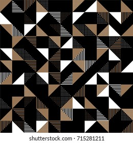 A modern geometric background design in gold and black with triangles