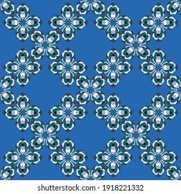 Modern geometric bohemian floral pattern vector hand drawn
