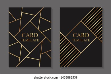 Modern geometric business or greeting card templates with golden lines on a dark background.