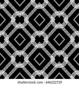 Modern geometric check seamless pattern. Black and white background wallpaper illustration with  squares, circles, rhombus  and greek key ornaments. Vector luxury  texture for fabric, textile, prints.