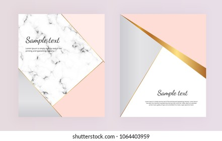 Modern geometric cover designs. Pink, grey, gold triangles with marble background. Trendy template for designs banner, brochure, card, flyer, invitation, party,  wedding, placard, magazine, website