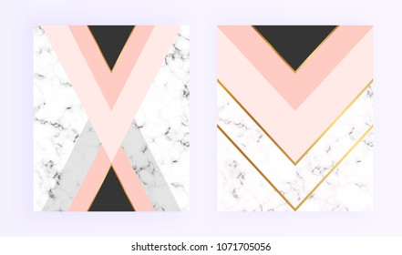Modern geometric cover designs with triangles, shapes and marble texture. Gold lines, grey, black and pink background. Template for card, flyer, invitation, party, birthday, wedding, print advertising