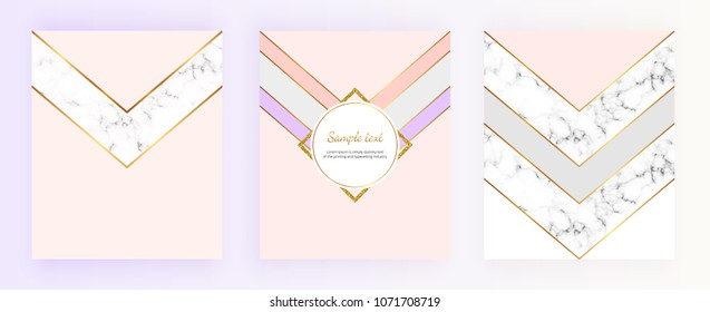 Modern geometric cover designs with triangles, shapes and marble texture. Gold lines, grey and pink background. Templates for brochure, card, flyer, invitation, birthday, wedding, print advertising