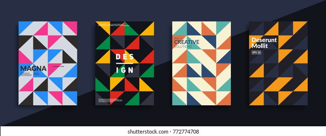 Modern geometric covers design. Traingle shapes composition. Eps10 vector.
