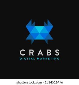 Modern geometric crab logo icon vector template on black background