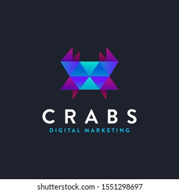 Modern geometric crab logo icon vector template on dark background