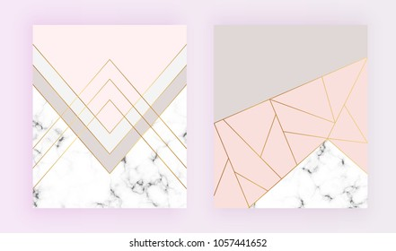 Modern geometric designs with marble texture, gold lines, triangles, pastel pink, grey colors background. Trendy template for invitation, card, banner, wedding, placard, party, flyer, brochure
