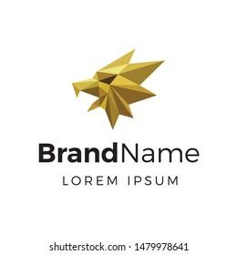 Modern geometric gold gryphon logo template
