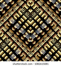 Modern geometric greek key meanders 3d seamless pattern. Vector abstract patterned ornate background. Gold tiled rectangles, squares, stripes, shapes, rhombus. Greek key meander ancient rich ornaments