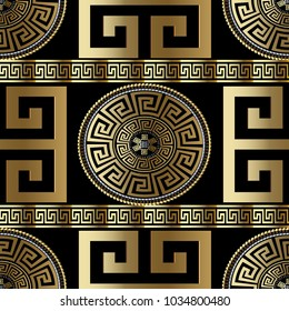 Modern Geometric Greek Seamless Pattern Vector Gold Meander Background 3d Wallpaper With Key