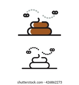 Modern geometric line icon of poop. Pile of shit with flies, flat vector illustration.