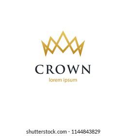 Modern geometric linear crown logo. Luxury symbol. Minimal design.