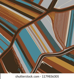 Modern geometric linear ; lines pattern in vector . handkerchief, tablecloth, head cover, shawl, curtain, carpet, rug . Colors are Brown , blue, beige , mustard