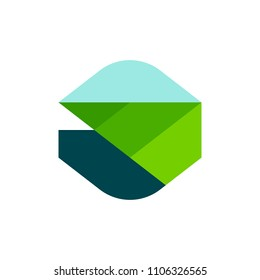 Modern geometric logo mark template or icon of rural landscape with agricultural field and mountain