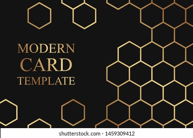 Modern geometric luxury card template for business or presentation with golden honeycombs on a black background.