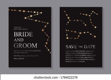 Modern geometric luxury wedding invitation design or card templates for birthday greeting or certificate or cover with golden stars and constellation and silver text on a black background.