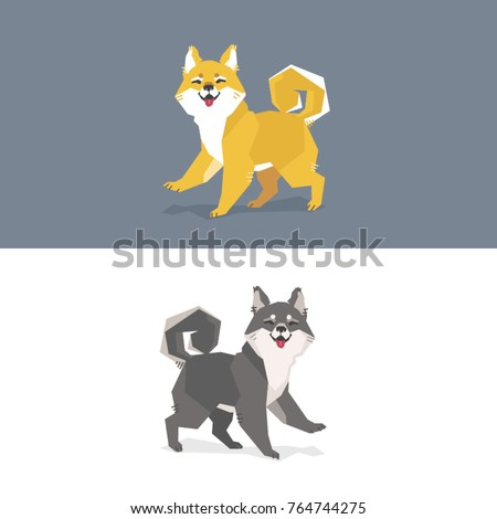 Modern Geometric Polygon Illustration Two Shiba Stock Vector