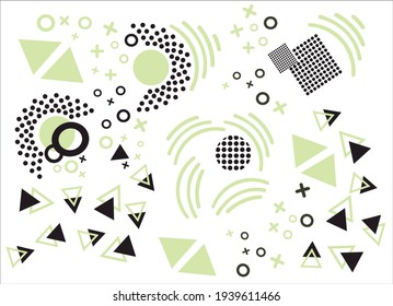 Modern geometric shapes. Square, triangular shape. Circle, triangle. Abstract vector illustration. Print for textile.