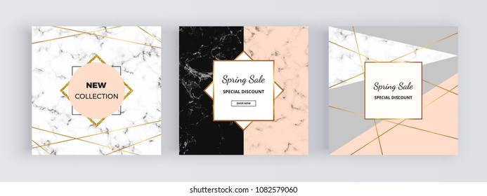 Modern geometric social media banners with golden lines, triangles, marble texture background. Square template for design card, flyer, invitation, party, birthday, wedding, email, web, website, phone