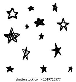 Modern Geometric Star Pattern. Handmade Star Pattern on White Background. Doodle Sketchy Brush Style