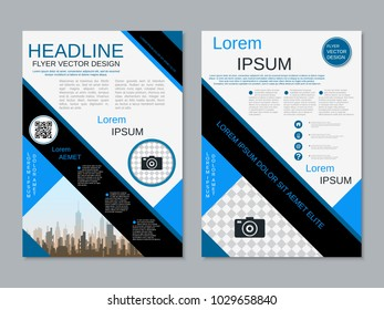 Modern geometric style business two-sided flyer, booklet, brochure cover, annual report vector design template