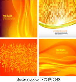 Modern geometrical orange & yellow background of bright glowing perspective with squares. Gorgeous graphic image template. Abstract image for backdrop business card or banners agriculture technology