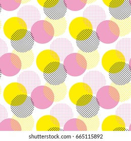 Modern geometry seamless pattern vector illustration surface design for print and web. Memphis post-modernist style motif. Pop art repeatable fabric sample.