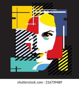 Modern girl black background cubism