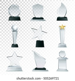 Modern glass cup trophies and challenge prizes side view realistic icons collection against transparent background isolated vector illustration