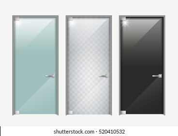 Modern Glass Doors. The Transparent, Matte And Black. Vector Graphics