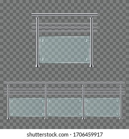 Modern glass railing vector illustration isolated