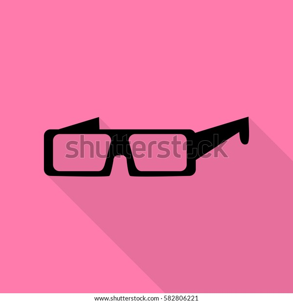 Modern glass sign. Black icon with flat style shadow path on pink background.