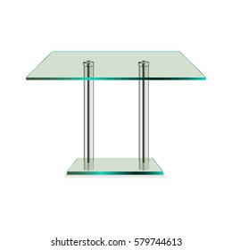 Modern glass table isolated on a white background. Vector illustration