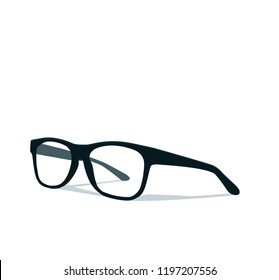 Modern glasses icon isolated on white background vector illustration of elegance spectacles in black frame, eyeglasses with lense, eyewear model