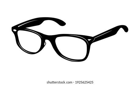 Modern glasses icon isolated on white background. Vector illustration of stylish spectacles in black frame and elegance eyeglasses with lens