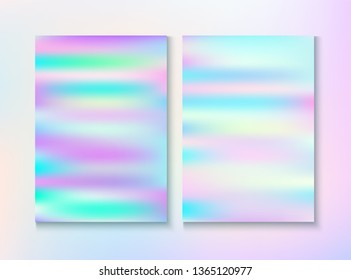 Modern Glitch Rainbow Music Party Vector Poster Set. Energy Certificate. Pastel Light Pearl Cover, Blank Paper, Teal. Holograph Gradient Overlay. Energy Rainbow Party Glitch Background.