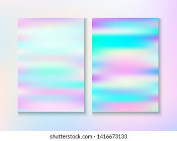 Modern Glitch Rainbow Music Party Vector Poster Set. Hologram Gradient Overlay. Unicorn Pearlescent Cover, Blank Paper, Teal. Bright Certificate. Energy Rainbow Party Glitch Background.