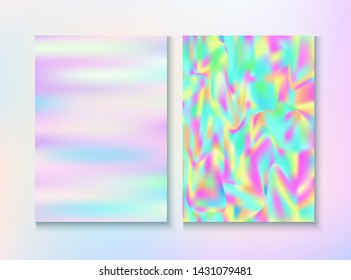 Modern Glitch Rainbow Music Party Vector Poster Set. Energy Certificate. Holographic Gradient Overlay. Pastel Light Pearl Cover, Blank Paper, Teal. Energy Rainbow Party Glitch Background.